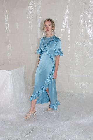 Sky Blue Silk Satin Ruffle Dress