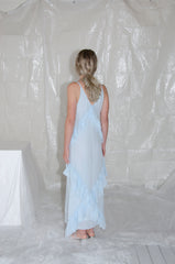 Ice Blue Long Crossover Ruffle Back Dress
