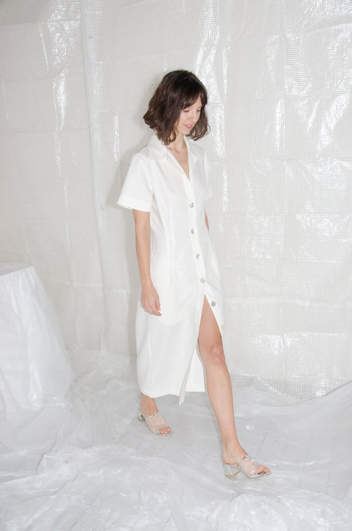 Off-White Tailored Linen Shirtdress