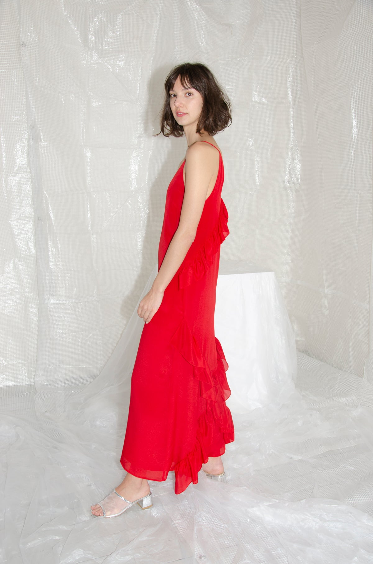 Scarlet Long Crossover Ruffle Back Dress