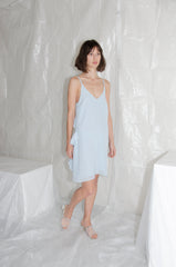 Ice Blue Short Crossover Ruffle Back Dress