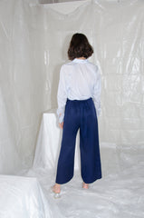 Navy Gathered Wide Leg Trouser