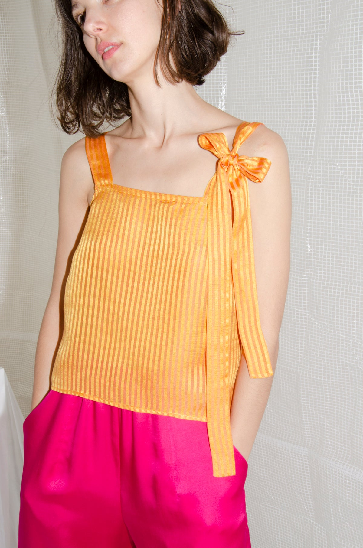 Tangerine Bow Camisole Top