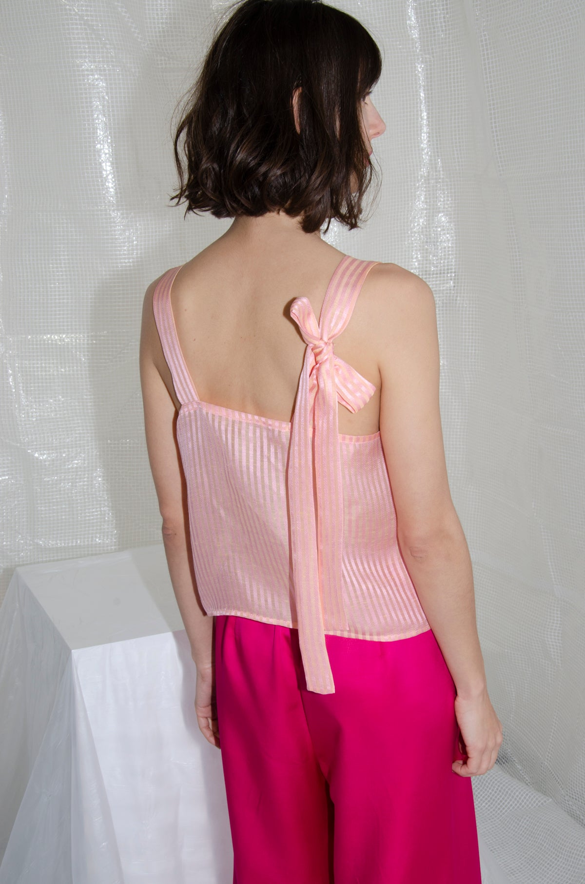 Yellow-Pink Bow Camisole Top