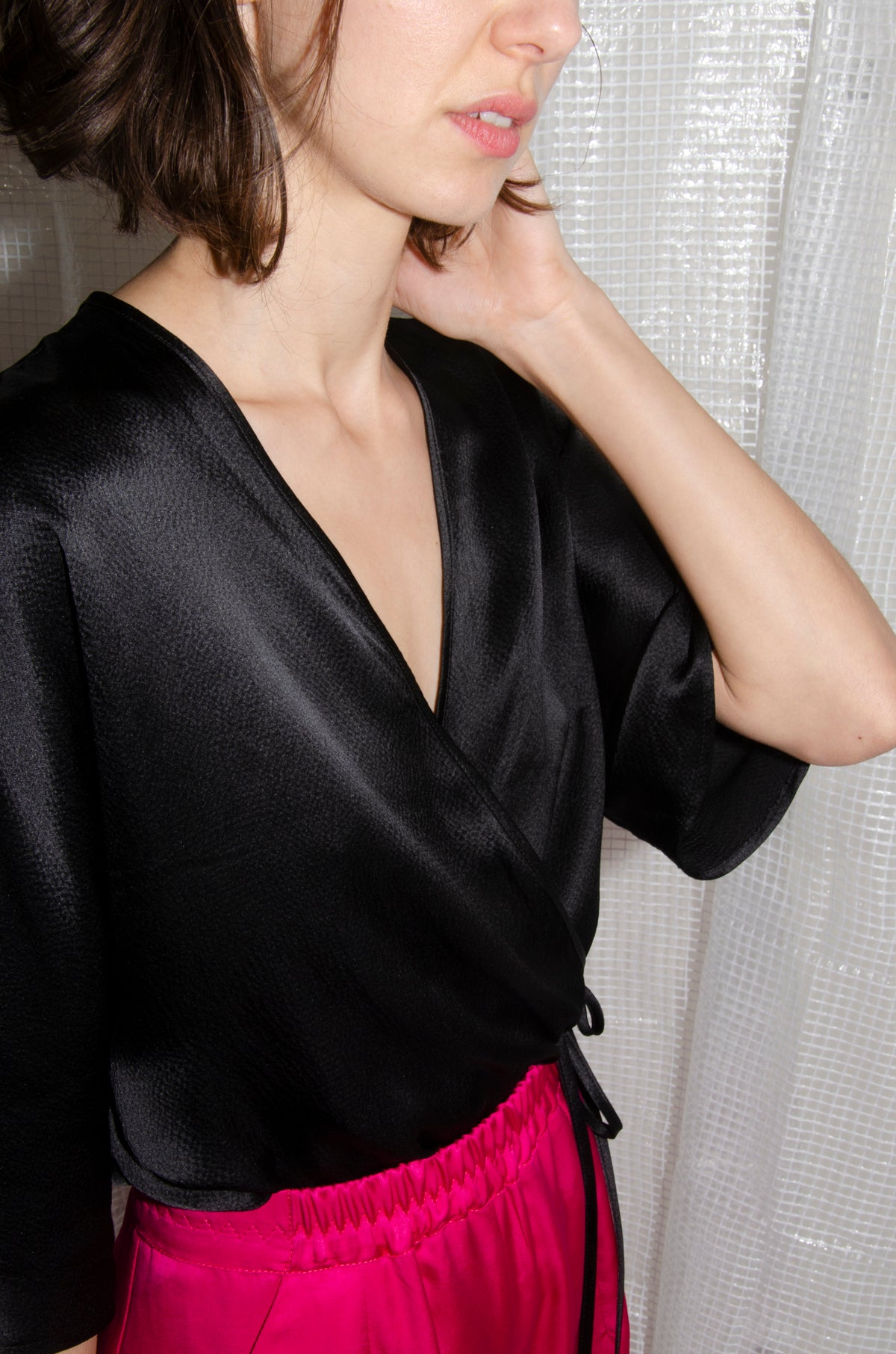 Black Reversible Silk Satin Wrap