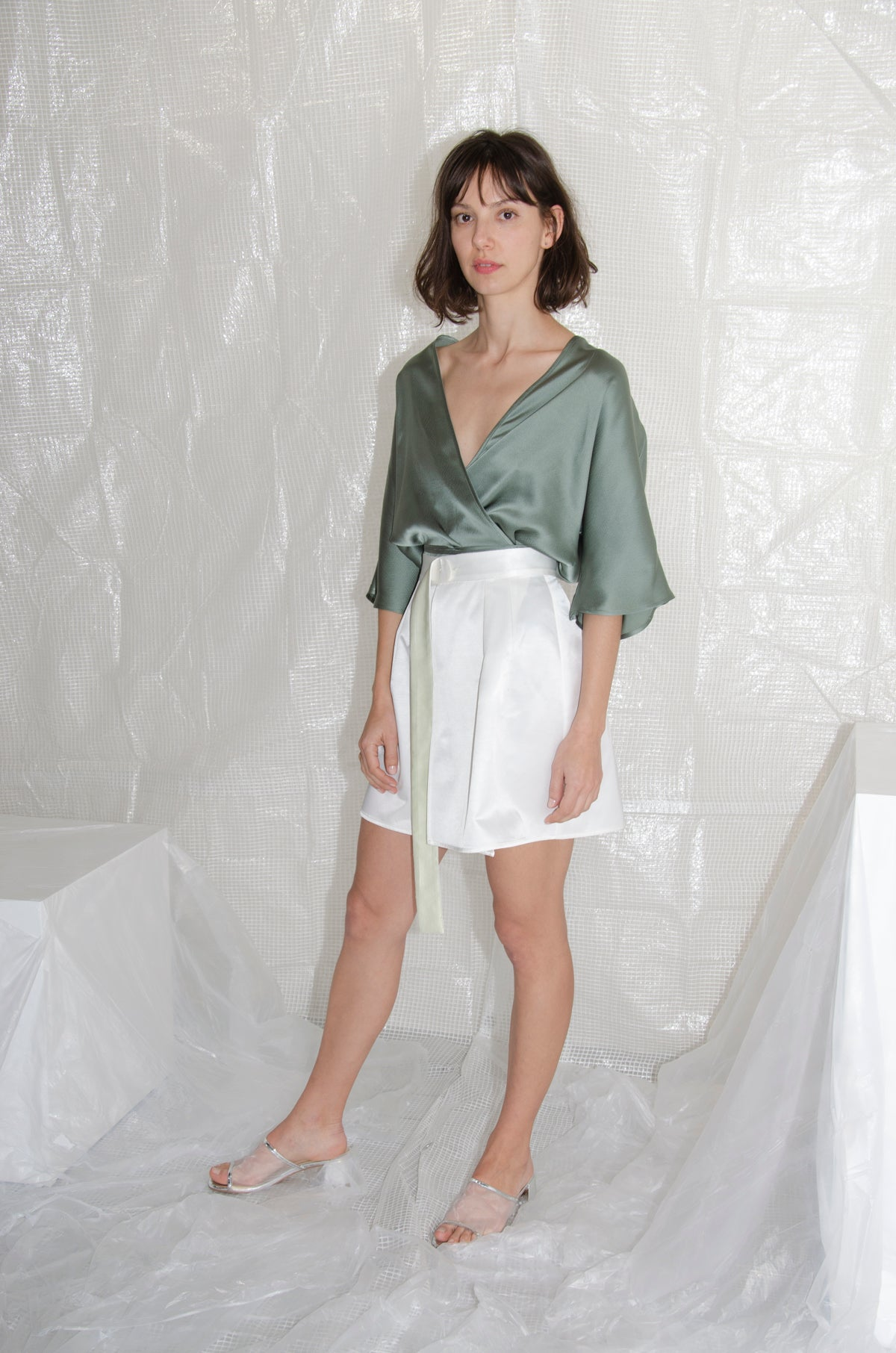 Sage Reversible Hammered Silk Wrap