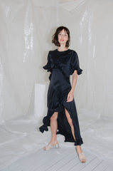 Black Silk Satin Ruffle Dress