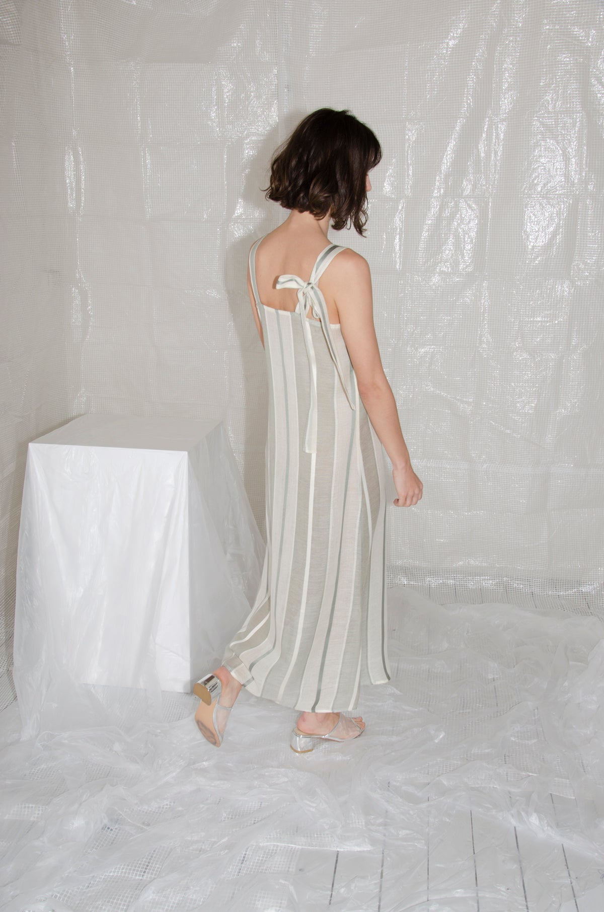 Cream-Sage Bow Camisole Dress