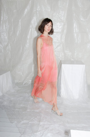 Marigold-Pink Iridescent Trapeze Dress