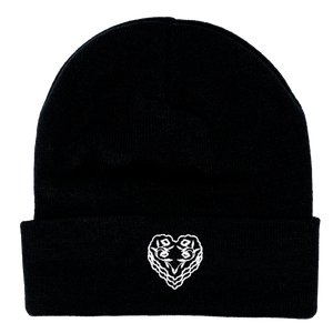 Fabric Heart Patch Knit Cap , Black