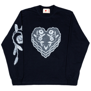 Fabric Heart Patch L/S Tee , Navy