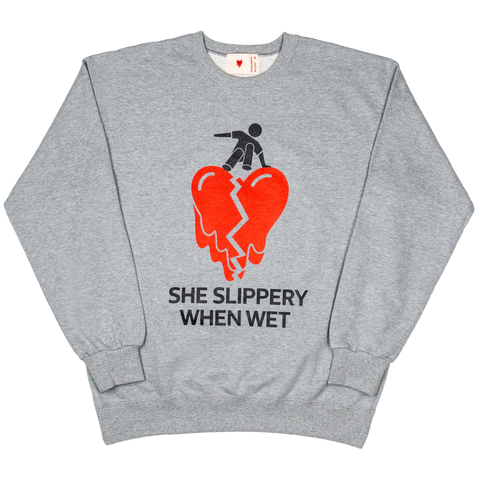 Slippery Crew Neck , Light Grey