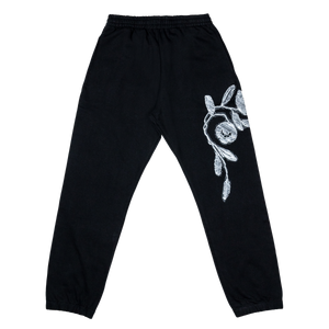 Fabric Heart Patch Sweat Pant, Black