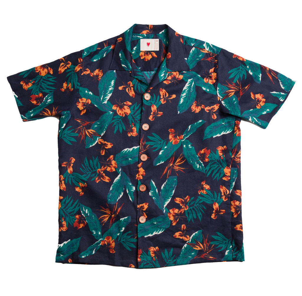 HAWAIIAN BUTTON UP BLUE