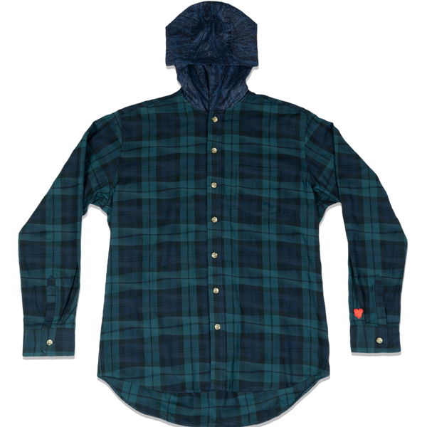 DRUNKEN CHECK HOODED BUTTON UP -GREEN/BLUE