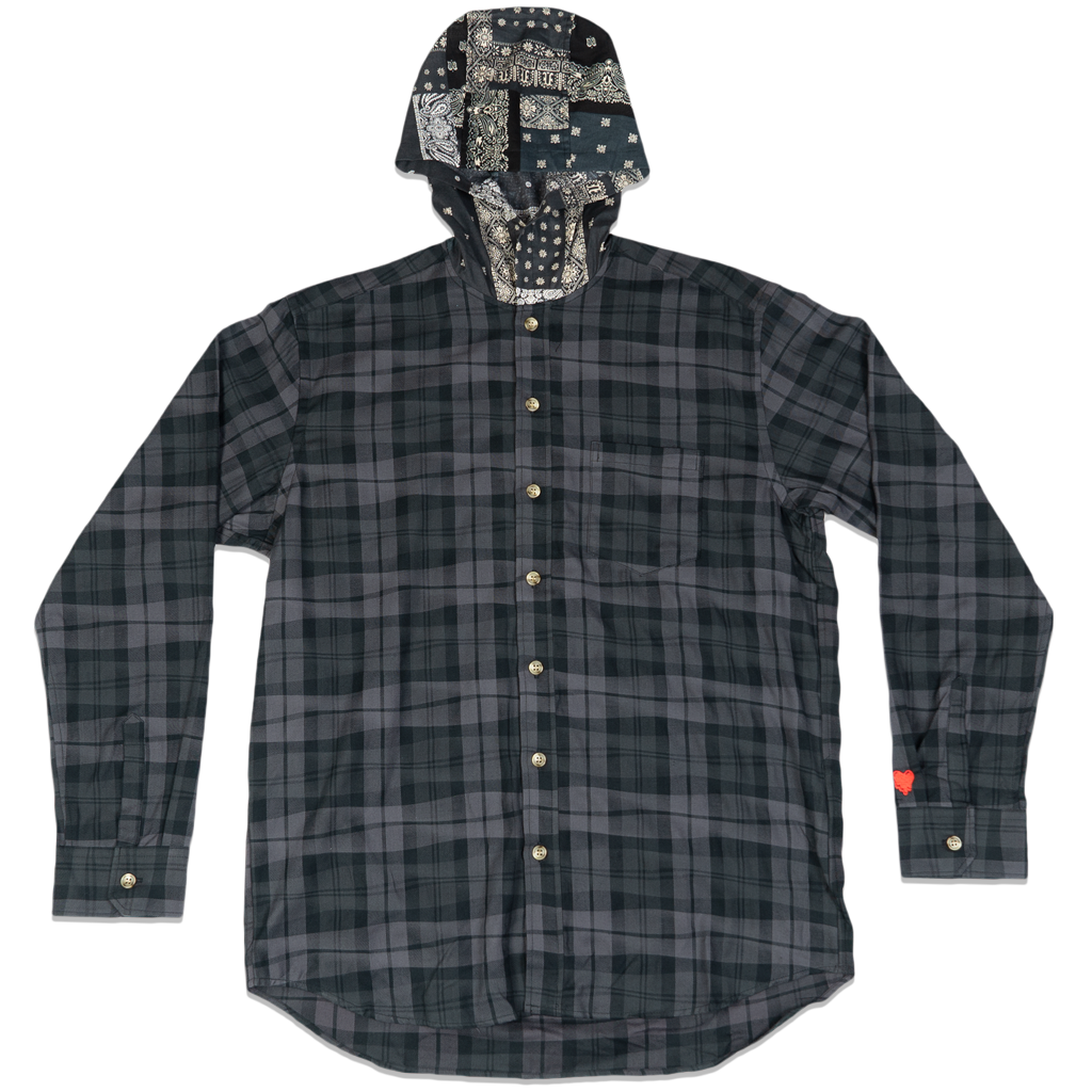 DRUNKEN CHECK HOODED BUTTON UP -GREY/GREY