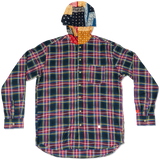 DRUNKEN CHECK HOODED BUTTON UP -RED/BANDANA