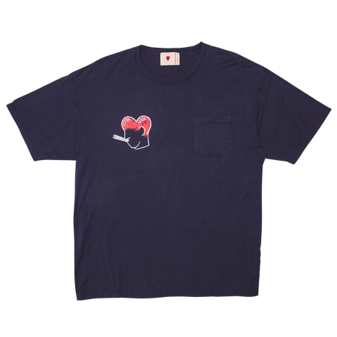 Smoking Heart Pocket Tee, Navy