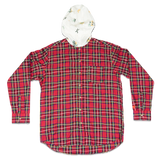 DRUNKEN CHECK HOODED BUTTON UP -RED/WHITE