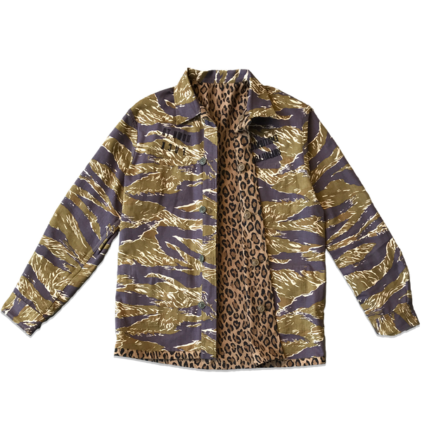 REVERSIBLE CAMO/LEOPARD BDU JACKET - GREEN/BROWN
