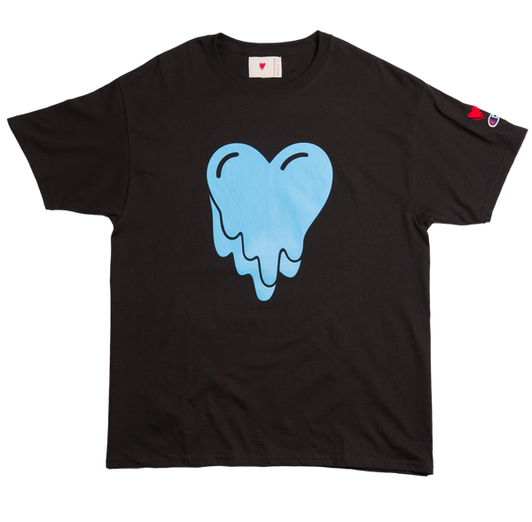 HEART LOGO BLUE TEE - BLACK