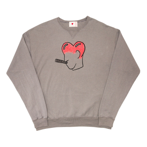 Smoking Heart Ribbed Crewneck, Concrete