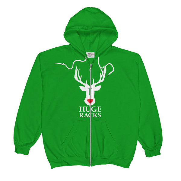 I Love Huge Racks / Hunting Inspired / Unisex Zip Hoodie