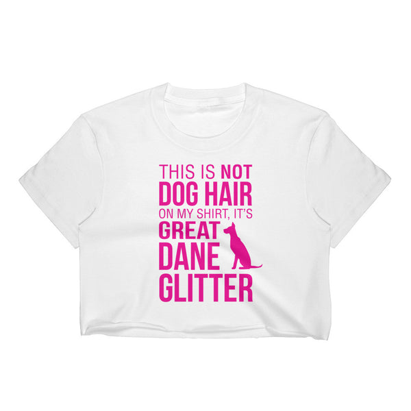 GREAT DANE GLITTER / Women's Crop Top / Pink Text
