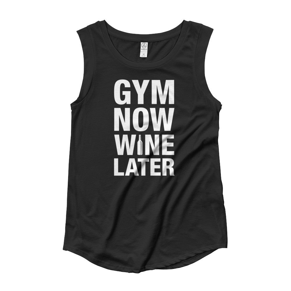 GYM NOW WINE LATER / Ladies' Cap Sleeve T-Shirt