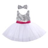 Sequined Silver Tutu Dress with Headband