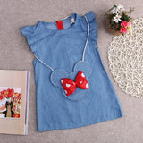 Sleeveless Jeans Minnie Dress with Bag