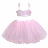Sequins Camisole Tube Top+ Sequined Bow Pink Tulle Tutu Ballet Skirt