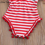 Cute Tassel Short Sleeve Stripe Headband Clothes Outfit