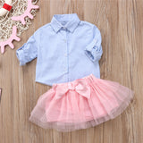 2pcs Button Down Blue Stripes T-Shirt Tops+Bows Tutu Skirt Sets