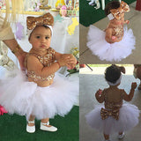 Gold Sequins Tops+Tutu Skirts Headband 3pcs Outfits Set