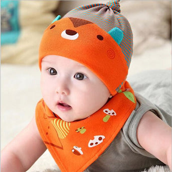 Cute Teddy Bear Hat and Bib Set