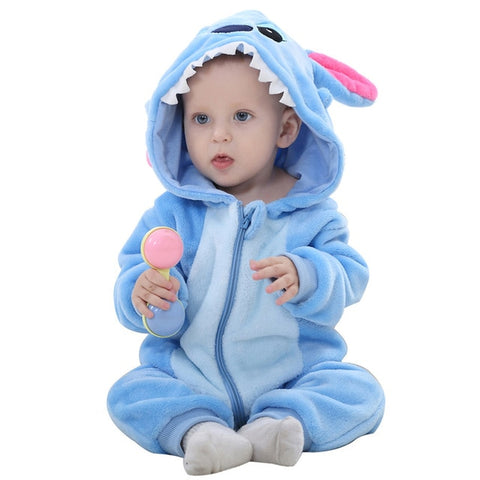 BLUE STITCH  HOODED JUMPSUIT