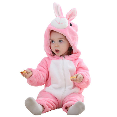 PINK RABBIT HOODED JUMPSUIT