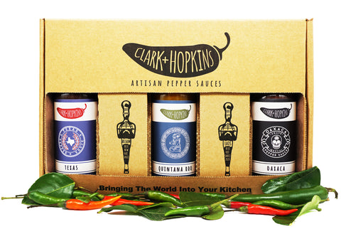 3-pack limited edition box. tex mex collection. contains oaxaca, quintana roo, and texas pepper sauces
