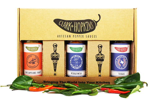 3-pack limited edition box. U.S. collection. contains chesapeake bay, texas, and virginia pepper sauces