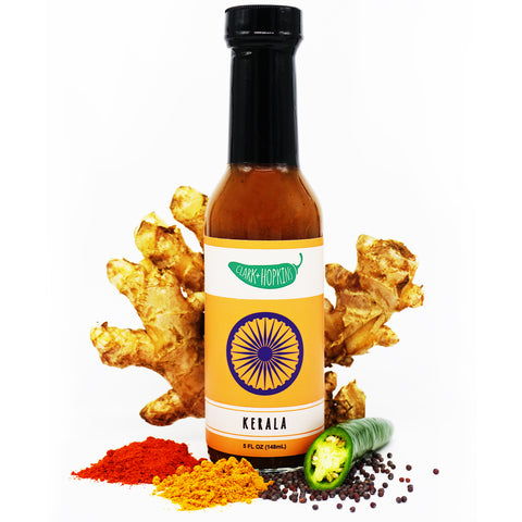 KERALA front bottle chili powder turmeric ginger root black mustard seeds jalapeno
