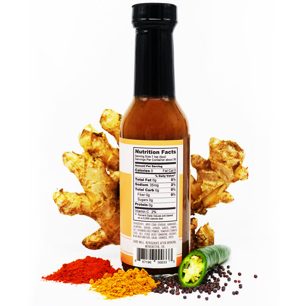 KERALA nutrition facts 0g total fat 35mg sodium 0g total carb 0g fiber 0g sugars 0g protein apple cider vinegar habaneros  jalapenos onion ginger garlic cumin salt kashmiri chili powder tomatoes coconut black mustard seed sugar turmeric spices