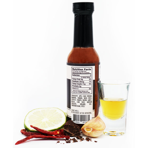 OAXACA nutrition facts 0g total fat 20mg sodium <1g total carb 0g protein apple dicer vinegar habanero serrano dried chilies chipotles tomato onion garlic mezcal lime juice mexican chocolate oregano salt turbinado sugar spices