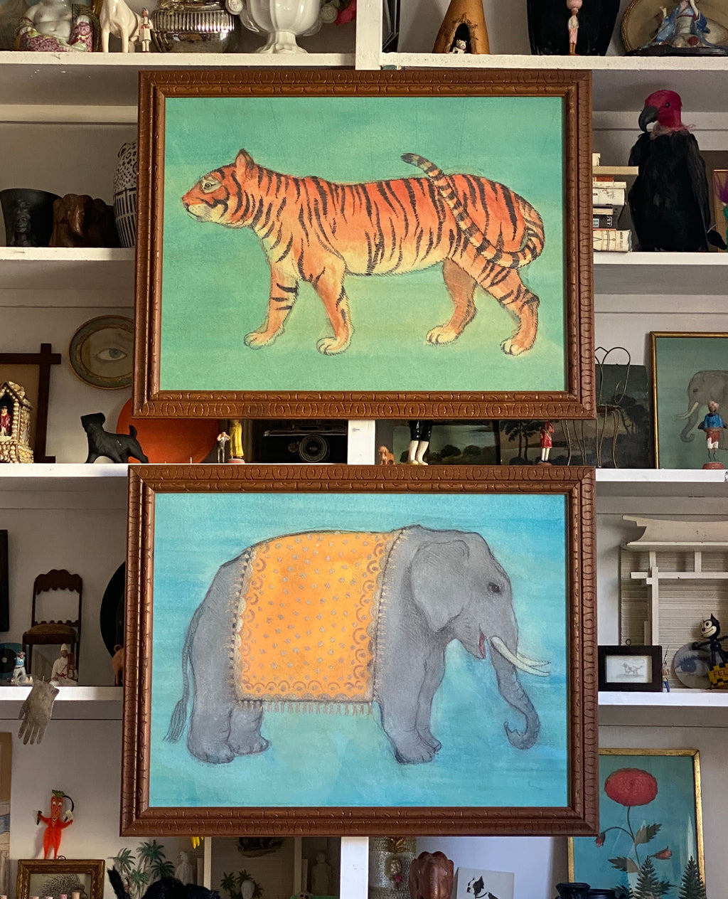 'Tiger' and 'Elephant in Yellow Ceremonial Robe' -per piece