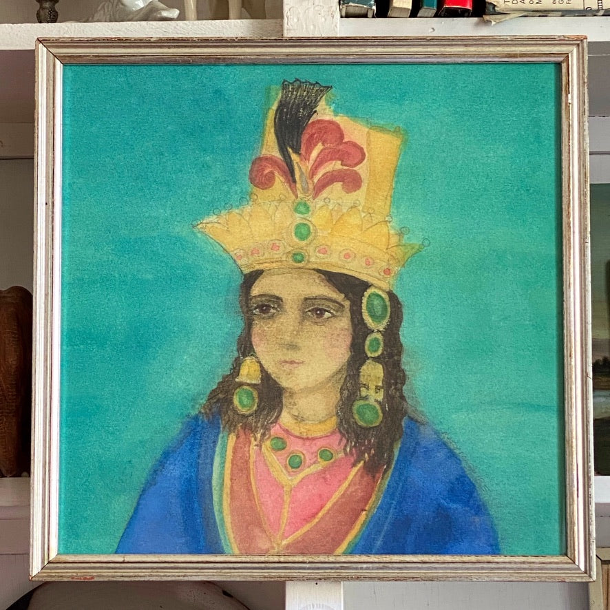'Indian Princess' in blue robes and headpiece