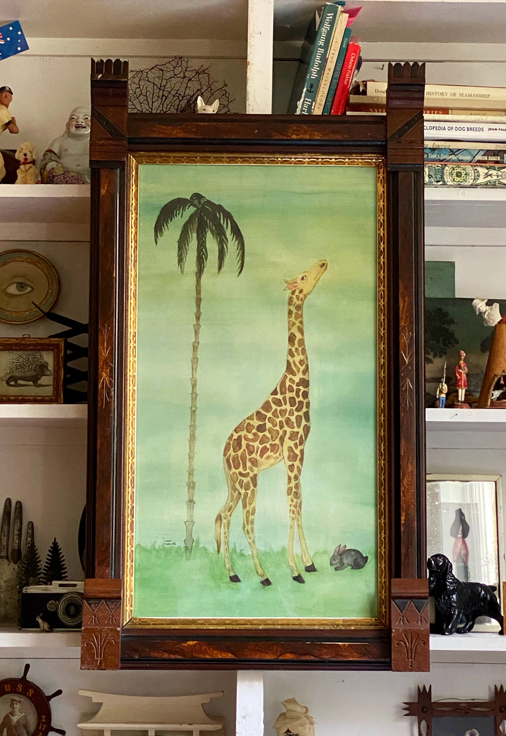 'Giraffe and Rabbit with Palm'