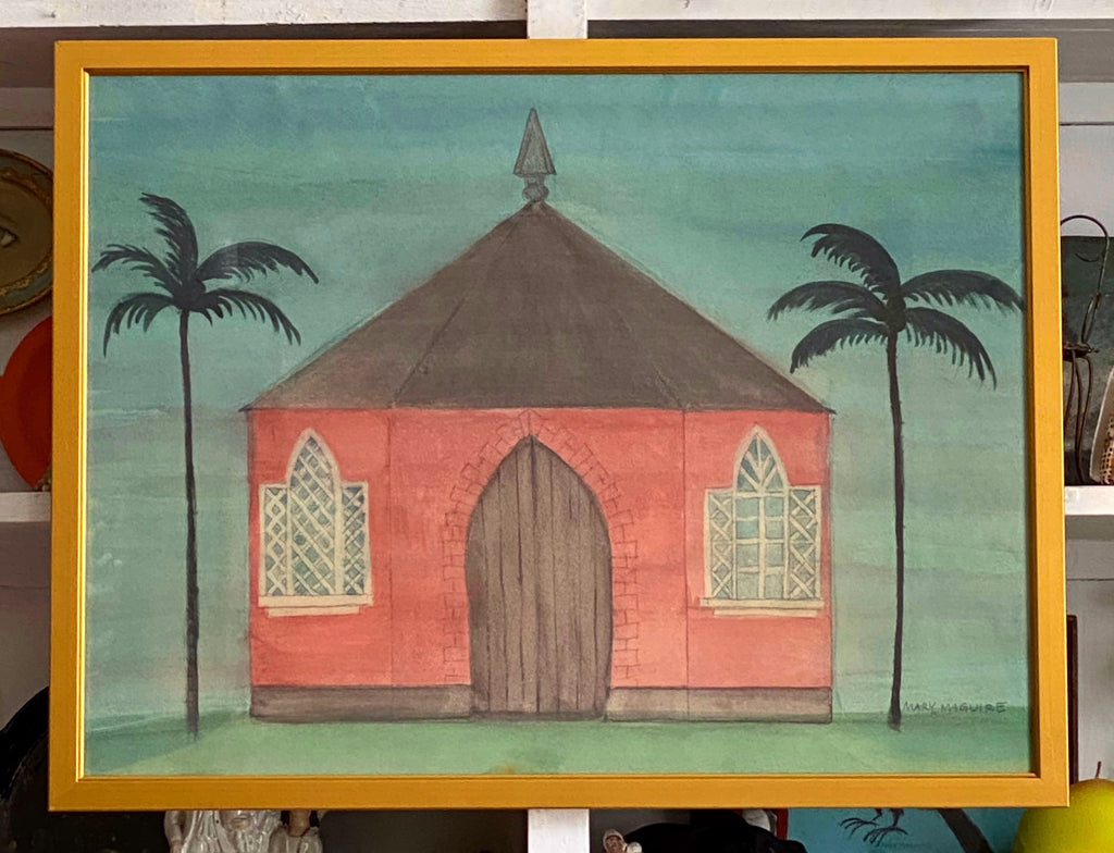 'Pink Garden Folly with Palm Trees'