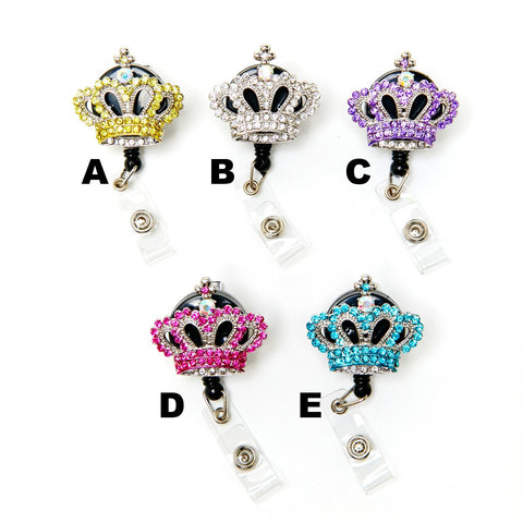 Colored Bling Rhinestone Crown Retractable Badge Holder Collection