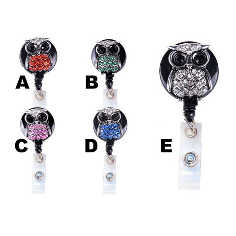 owl badge holder, badge clip, nurse badge reel, cute badge reel, nurse id badge, retractable badge reel, bling badge reel, lanyard badge clip, rhinestone lanyard, bling lanyard