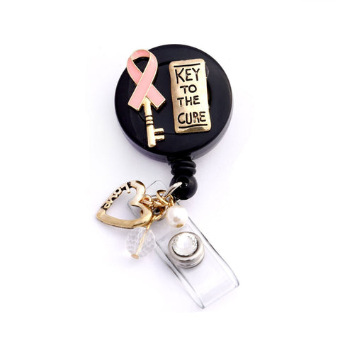 pink ribbon badge holder, badge reel, nurse badge reel, breast cancer badge reel